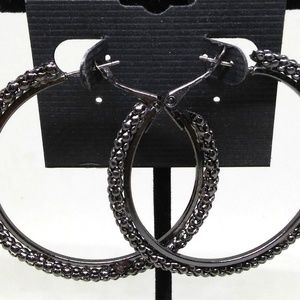 Body Central Jewelry - Hoop Earrings Black Beaded 2 inches Sparkle 1289